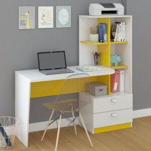 Mesa para Computador Elisa 2 gavetas – Branco e Amarelo