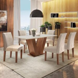 Conjunto Sala de Jantar Mesa Tampo MDF 6 Cadeiras Espanha Yescasa Chocolate / Off White
