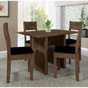 Mesa de Jantar 4 Cadeiras Retangular Indekes – Luiza