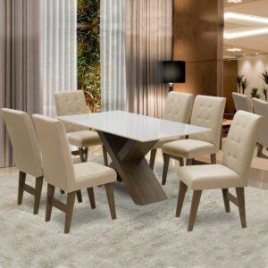 Conjunto de Mesa de Jantar Off White Dubai 1,60m MDF com 6 Cadeiras Castanho / Areia