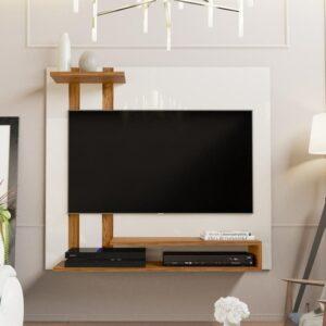 Painel Para Tv Smart Plus – Off White / Nature – Mania de Móveis