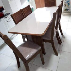 Mesa de Jantar 6 Cadeiras Retangular Indekes – Cristal