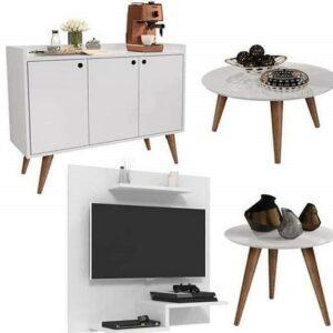 Conjunto Sala Com Painel Jet Plus / Aparador Buffet Wood Prime / Mesa De Centro E Lateral Cissa – Branco – Rpm Móveis