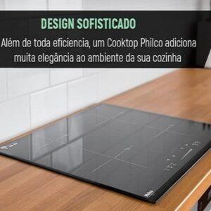 Cooktop 4 Bocas Philco Indução Vitrocerâmico c/ painel touch, display digital, 9 níveis de potência e timer – 220v