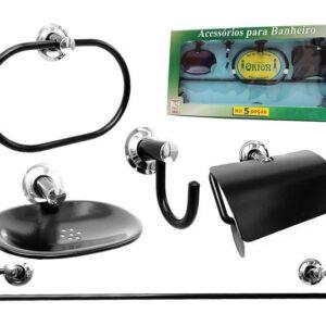 Kit Acessórios Preto Aço Inox Para Banheiro Metal – 5 Peças