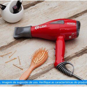 Secador de Cabelo Profissional Lion – Tutti Silenciar Vermelho e Cinza com Íons 2200W – 110v/220v