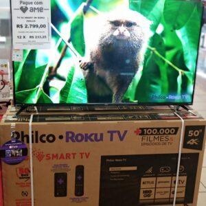 cupom→( TVS10 ) Smart TV 50″ Philco Roku Led UHD 4K Wi-Fi 4 HDMI 2 USB e Midiacast