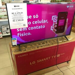 "Smart TV LED 43"" LG 43LM6300PSB Full HD Wi-Fi Inteligência Artificial HDMI USB"