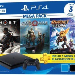 PlayStation 4 Mega Pack V18 2021 1TB 1 Controle – Preto Sony com 3 Jogos na Memória Voucher 3 Meses