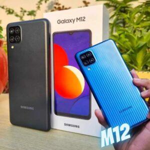 "Smartphone Samsung Galaxy M12 64GB Azul 4G – 4GB RAM Tela 6,5"" Câm. Quádrupla + Selfie 8MP"