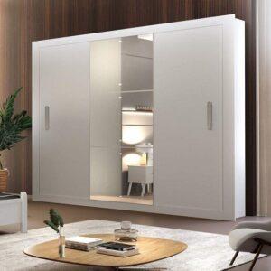 cupom→( PARAVOCE ) Guarda Roupa Casal 3 Espelhos 3 Portas Carina Espresso Móveis – Branco
