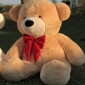 Urso Gigante Pelúcia Grande Teddy 1,10 Metros – LuckBaby Doce de Leite com Laço Vermelho