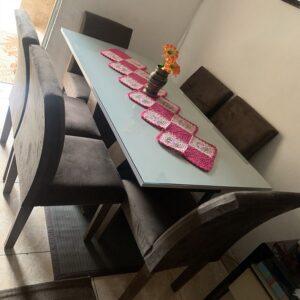 cupom→( 30OFF ) Conjunto Sala de Jantar Mesa Tampo MDF 6 Cadeiras Espanha Espresso Móveis Chocolate/Off White