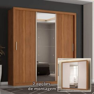 Guarda-roupa Casal com Espelho 3 Portas de Correr – 2 Gavetas Demóbile Residence Flex