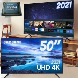 """Smart TV 50"""" Crystal 4K Samsung 50AU7700 – Wi-Fi Bluetooth HDR Alexa Built in 3 HDMI 1 USB"""