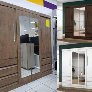 Guarda-roupa Casal com Espelho 4 Portas 6 Gavetas – Araplac Sofia
