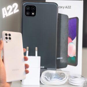 "Smartphone Samsung Galaxy A22 128GB Branco 4G – 4GB RAM Tela 6,4"" Câm. Quádrupla + Selfie 13MP"