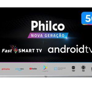 "Smart TV UHD D-LED 50"" Philco PTV50G71AGBLS – Android Wi-Fi Inteligência Artificial 4 HDMI 2USB"
