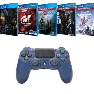 Combo Controle para PS4 sem Fio Dualshock Midnight Blue com 5 Jogos de PS4