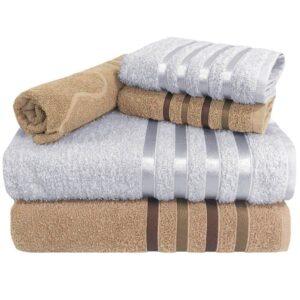Jogo de Toalha 5 Peças kit de toalhas 2 banho 2 rosto 1 piso – Vermelha e Branca