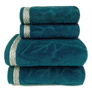 Toalha de Banho Sophia – Banho(75×140 cm), Rosto(48×75 cm) e Piso(45×70 cm) Algodão 380gr/m2 – 5 Peças