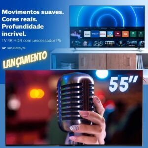 "Smart TV 4K 55"" Philips 55PUG7625/78 – Wi-Fi Bluetooth HDR10+ 3 HDMI 2 USB"