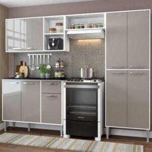 Cozinha Completa Compacta Xangai Plus Multimóveis Branco/Fumê