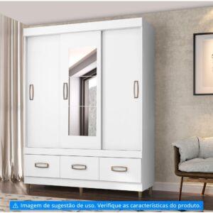 Guarda-roupa Casal com Espelho 3 Portas – de Correr 3 Gavetas Araplac