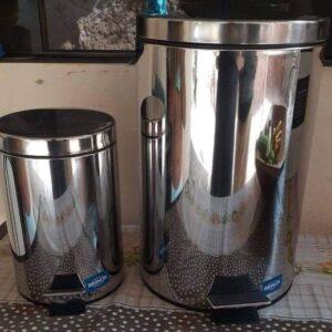 Kit Lixeira Inox com Pedal e Tampa Brinox Standard 3L e 12L – 2 Peças