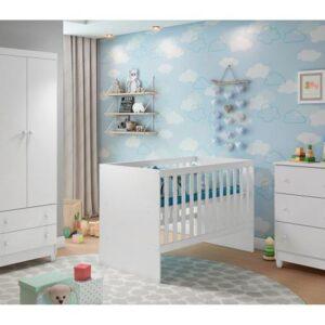 Quarto de Bebê Completo com Berço + Guarda-Roupa – e Cômoda Carolina Baby Lívia