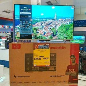 """cupom→( GANHEI150 ) Smart TV 4K UHD LED 50"""" TCL Android Wi-Fi – Bluetooth 3 HDMI 2 USB Comando de Voz"""