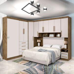Dormitório Modulado Georgia J&A Jequitibá / Off White Para Cama Box 1,38M Casal