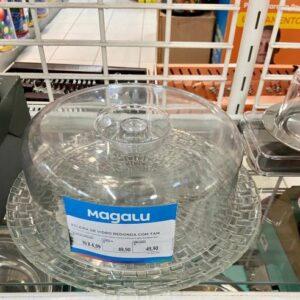 Boleira de Vidro Redonda com Tampa de Plástico &#...