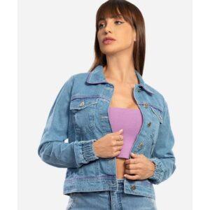 Jaqueta Feminina Jeans Bolsos Biotipo – Tam....