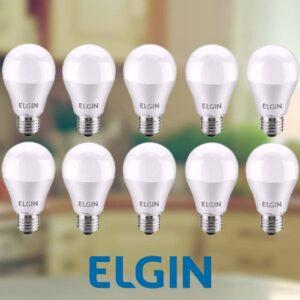 Kit Lâmpadas LED 10 Unidades Branca E27 9W – 6500K Elgin Bulbo A60